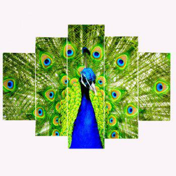 Peacock Pattern Unframed Split Wall Art Canvas Paintings - GREEN 1PC:12*31,2PCS:12*16,2PCS:12*24 INCH( NO FRAME )