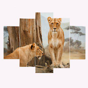 Prairie Lions Patterned Unframed Split Canvas Paintings - BROWN BROWN