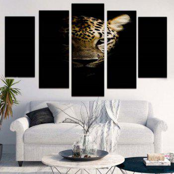 Dark Night Leopard Pattern Unframed Canvas Paintings - BLACK LEOPARD PRINT 1PC:12*31,2PCS:12*16,2PCS:12*24 INCH( NO FRAME )