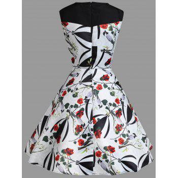 Floral Print A Line Sweetheart Vintage Dress - WHITE S