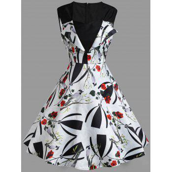 Floral Print A Line Sweetheart Vintage Dress - WHITE WHITE