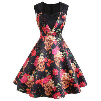 Floral Print A Line Sweetheart Vintage Dress - DEEP YELLOW DEEP YELLOW