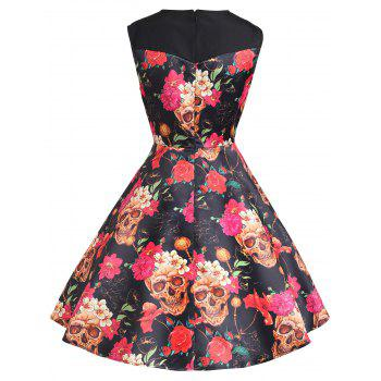 Floral Print A Line Sweetheart Vintage Dress - DEEP YELLOW M