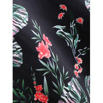 Floral Print A Line Sweetheart Vintage Dress - BLACK 2XL
