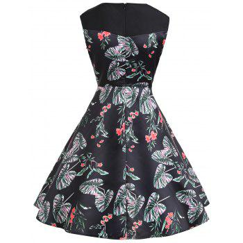 Floral Print A Line Sweetheart Vintage Dress - BLACK XL