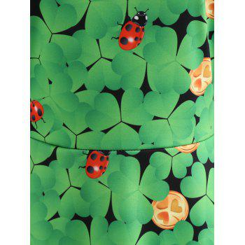 Lace Insert Ladybird Leaf Print Vintage Dress - GREEN S