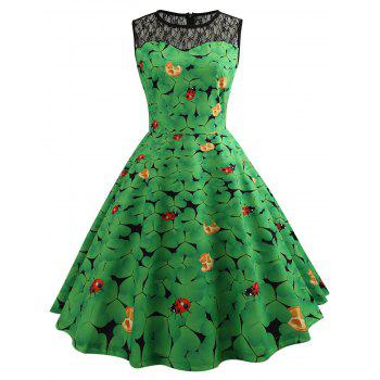 Lace Insert Ladybird Leaf Print Vintage Dress - GREEN GREEN