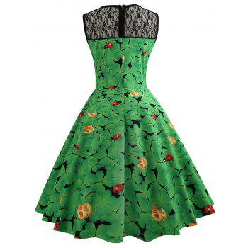 Lace Insert Ladybird Leaf Print Vintage Dress - GREEN 2XL