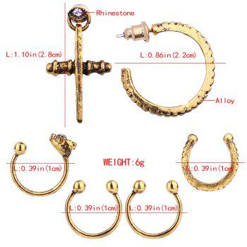 Cross Stud Earrings and Semicircle Ear Clip Set - GOLDEN
