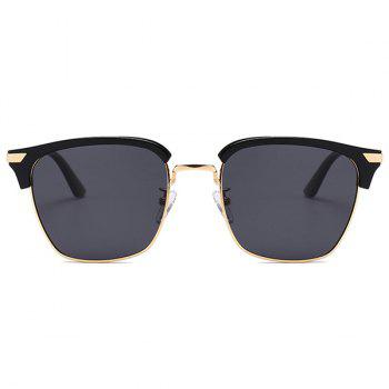 Unique Semi-frame Square Lightweight Sunglasses - DOUBLE BLACK