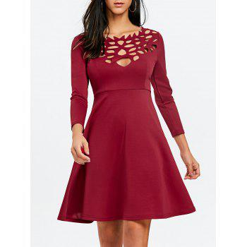 Cut Out Mini Party Dress - WINE RED WINE RED