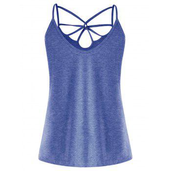 Strappy Cut Out Cami Top - BLUE M