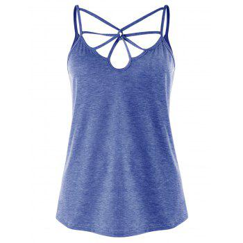 Strappy Cut Out Cami Top - BLUE BLUE