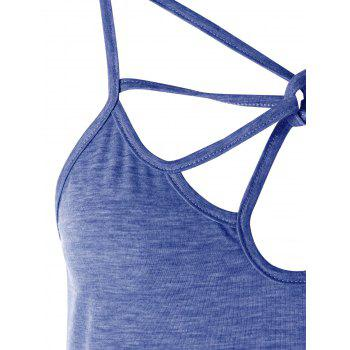 Strappy Cut Out Cami Top - BLUE L