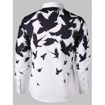 Two Tone Birds Print Shirt - WHITE/BLACK L