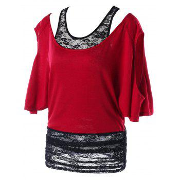 Two Tone Cold Shoulder Tunic T-shirt - WINE RED L