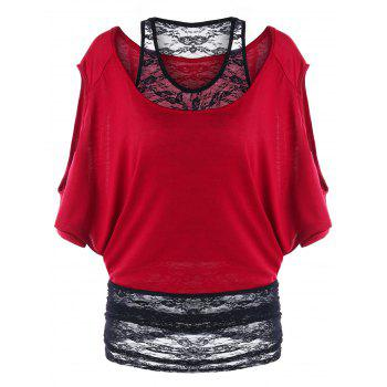 Two Tone Cold Shoulder Tunic T-shirt - WINE RED WINE RED