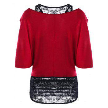Two Tone Cold Shoulder Tunic T-shirt - WINE RED 2XL