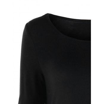 Long Sleeve Asymmetric Top - BLACK XL