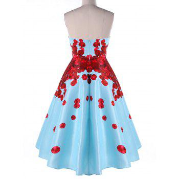 Foldover Strapless Floral High Low Party Dress - BLUE M