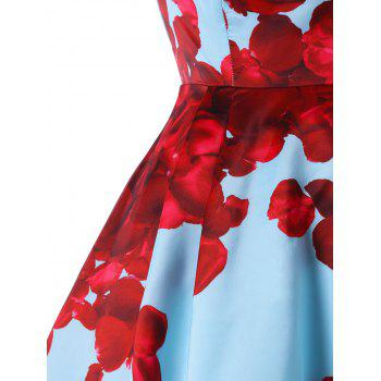 Foldover Strapless Floral High Low Party Dress - BLUE 2XL
