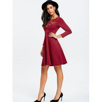 Cut Out Mini Party Dress - WINE RED M