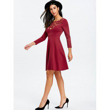 Cut Out Mini Party Dress - WINE RED XL
