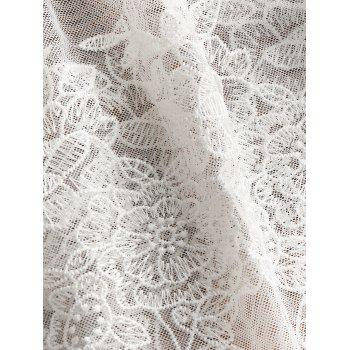 Mesh Sheer Backless Embroidery Babydoll - WHITE WHITE