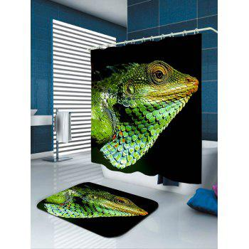 Chameleon Head Print Fabric Shower Curtain - GREEN GREEN