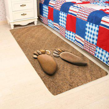 Cobblestone Footprint Beach Print Floor Area Rug - BROWN BROWN