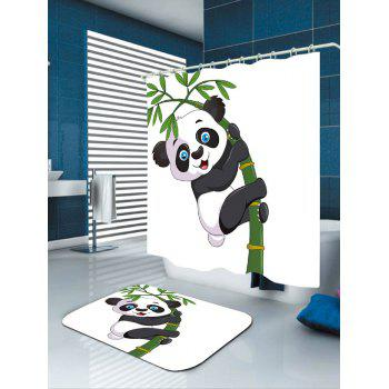 Adorable Panda Hugging Bamboo Patterned Bath Curtain - BLACK WHITE W71 INCH * L79 INCH