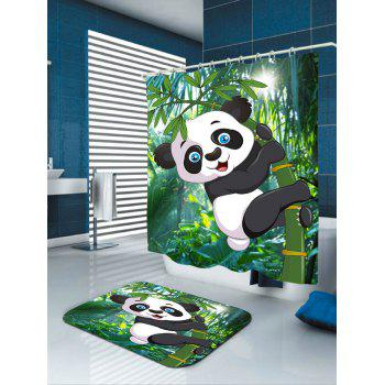 Cartoon Panda Hugging Bamboo Printed Bath Curtain - GREEN W59 INCH * L71 INCH