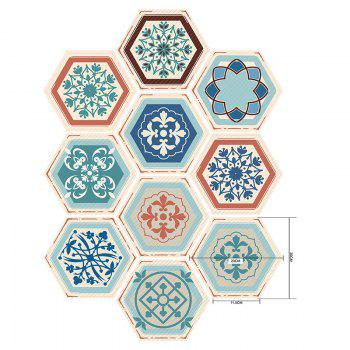 Hexagon Flower Pattern Wall Tile Decals Set - COLORMIX