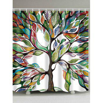 Colorful Tree of Life Print Waterproof Shower Curtain - COLORFUL COLORFUL