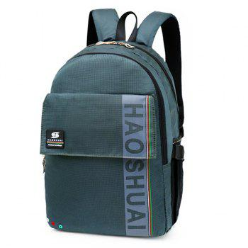 Letter Multi Usage Laptop Backpack - GREYISH GREEN