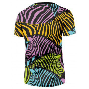 Multi-color Zebra Printed T-shirt - COLORMIX L