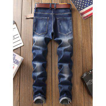 Straight Leg Zip Fly Frayed Jeans - BLUE BLUE
