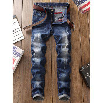 Straight Leg Zip Fly Frayed Jeans - BLUE 38