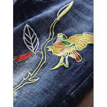 Zip Fly Bird Embroidery Destroyed Jeans - BLUE BLUE