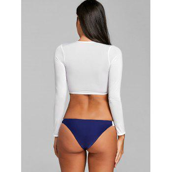 Two Tone Crop Swim Top with Thong - CADETBLUE S