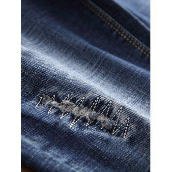 Zip Fly Bird Embroidery Destroyed Jeans - BLUE 36
