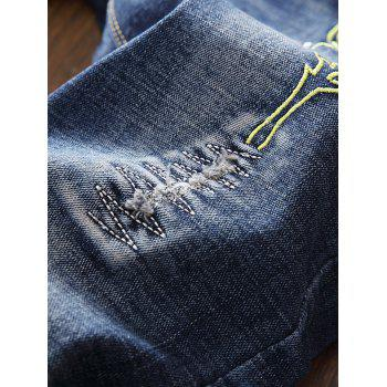 Zip Fly Bird Embroidery Destroyed Jeans - BLUE 38