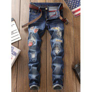 Zip Fly Straight Leg Patch Design Jeans - BLUE 30