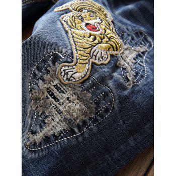 Zip Fly Straight Leg Patch Design Jeans - BLUE 34
