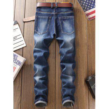 Zip Fly Straight Leg Patch Design Jeans - BLUE BLUE