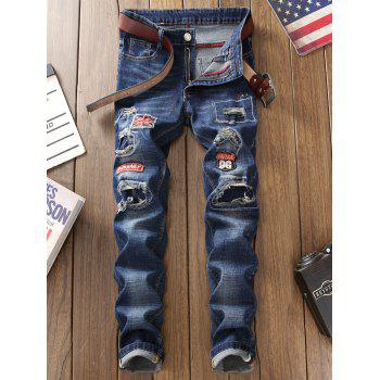 Straight Leg Patch Design Jeans with Knee Rips - BLUE BLUE