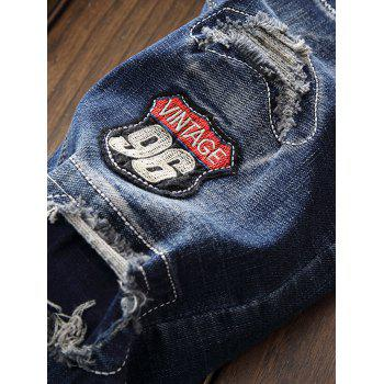 Straight Leg Patch Design Destroyed Jeans - BLUE 34