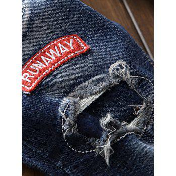 Straight Leg Patch Design Destroyed Jeans - BLUE 38