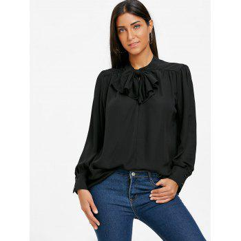 Mock Neck Bowknot Chiffon Blouse - BLACK L
