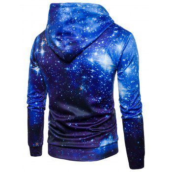 Starry Night Sky Pullover Hoodie - BLUE XL